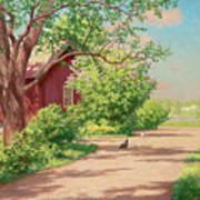 Summer Landscape With Hens Poster