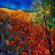 Summer Landscape With Poppies  Poster