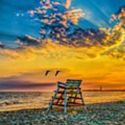 Summer Sunset On The Beach Poster