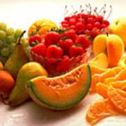 Summertime Fruit On White Poster