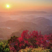 Sun Burst, Cherry Blossoms And Mountain Layers Poster