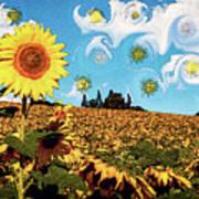 Sun Flowers Field Poster