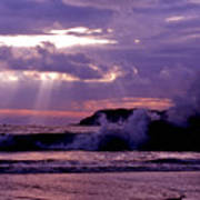 Sun Pokes Though Clouds By Stormy Sea Poster