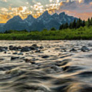 Sun Rays Over The Grand Tetons Poster