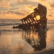 Sun Setting Behind Peter Iredale 0089 Poster