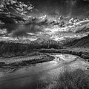 Sun Setting On The Owens River Poster
