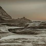 Sundown Over The Ocean Rocks Poster