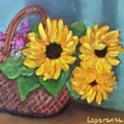 Sunflower Basket Poster