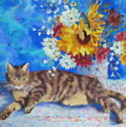 Sunflower Cat Poster