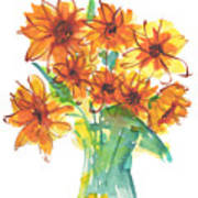 Sunflower Medley II Watercolor Painting By Kmcelwaine Poster
