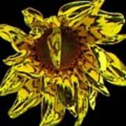 Sunflower With Stone Effect Poster