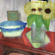 Sunflowers And Blue Bowls Poster