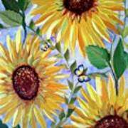Sunflowers And Butterflies Poster