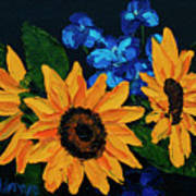 Sunflowers And Delphinium Poster