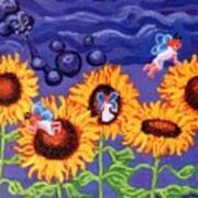 Sunflowers And Faeries Poster