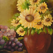 Sunflowers And Grapes Poster