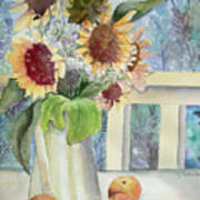 Sunflowers And Peaches Poster