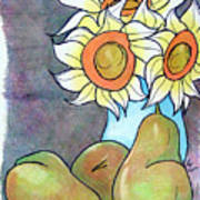 Sunflowers And Pears Poster by Loretta Nash