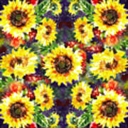 Sunflowers Impressionism Pattern Poster