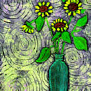 Sunflowers In A Green Vase Poster