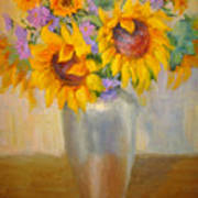 Sunflowers In A Silver Vase Poster