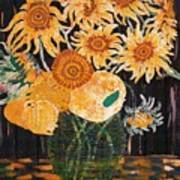 Sunflowers In Clear Vase Poster