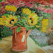Sunflowers In Copper Poster