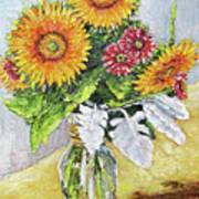 Sunflowers In Glass Vase Poster