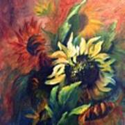 Sunflowers In Red Poster