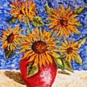 Sunflowers In Red Vase. Poster