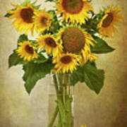 Sunflowers In Vase Poster by © Leslie Nicole Photographic Art