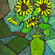 Sunflowers In Vase Green Poster