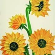 Sunflowers Using Palette Knife Poster
