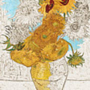Sunflowers Van Gogh Digital Art Poster