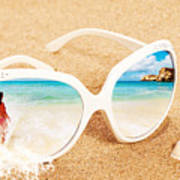 Sunglasses In The Sand Poster