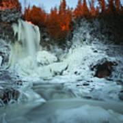 Sunlit Edge Of The Moraine Falls Poster