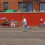 Sunny Morning On A Boardwalk In Brighton Beach  Poster