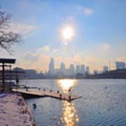 Sunny Schuylkill River In Winter Poster