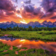 Sunrays Over The Tetons Poster
