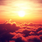 Sunrise Above The Clouds Poster