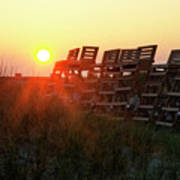 Sunrise And The Lifeguard Chairs  Poster