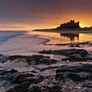 Sunrise at Bamburgh Castle #4, Northumberland, North East England Poster