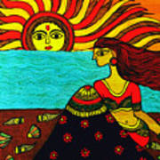 Sunrise At Beach Madhubani Painting Poster