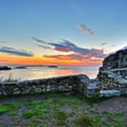 Sunrise At Castle Rock Marblehead Ma Rocky Coast Poster