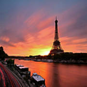 Sunrise At Eiffel Tower Poster by © Yannick Lefevre - Photography