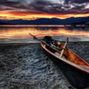 Sunrise Boat Poster