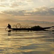 Sunrise Fisherman Poster