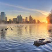Sunrise In January Over Austin Texas 5 Poster