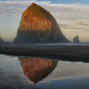 Sunrise On Haystack Rock - Oregon Poster by Sandra Bronstein