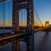 Sunrise On The Gwb, Nyc - Portrait Poster